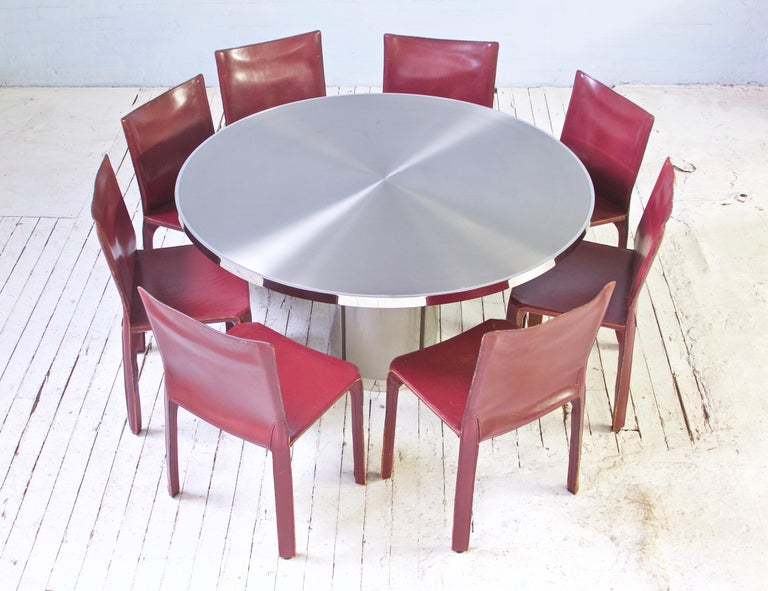 Vintage Round Pedestal Dining Table in Aluminum & Chrome, Italy, 1970s In Good Condition For Sale In Brooklyn, NY