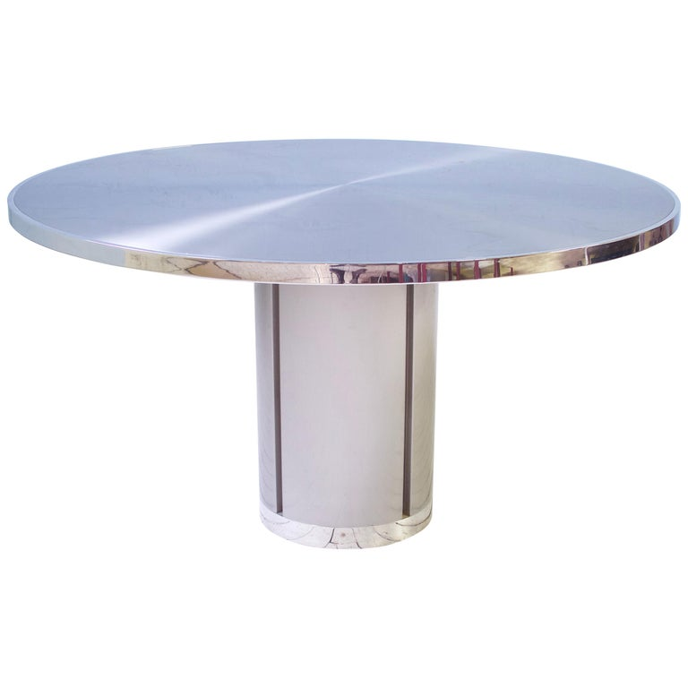 Vintage Round Pedestal Dining Table in Aluminum & Chrome, Italy, 1970s For Sale