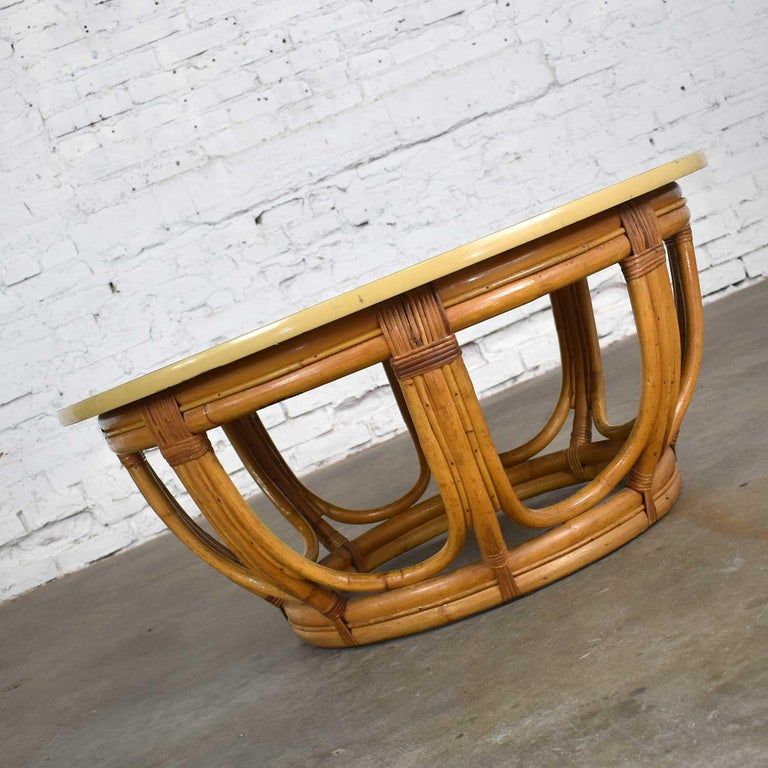 Art Deco Vintage Round Rattan Drum Shape Coffee or End Table with Laminate Top For Sale