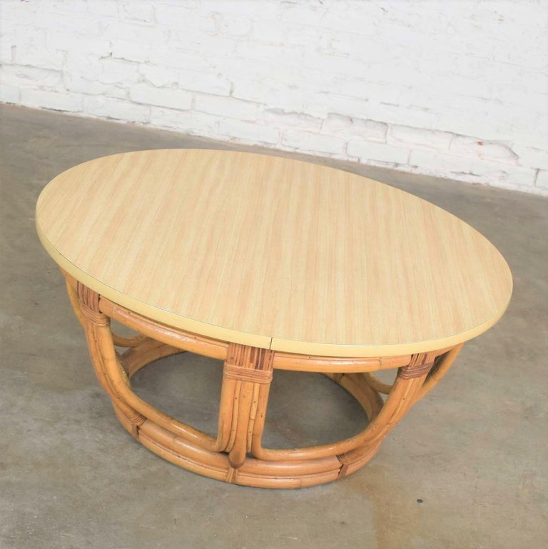 Unknown Vintage Round Rattan Drum Shape Coffee or End Table with Laminate Top For Sale