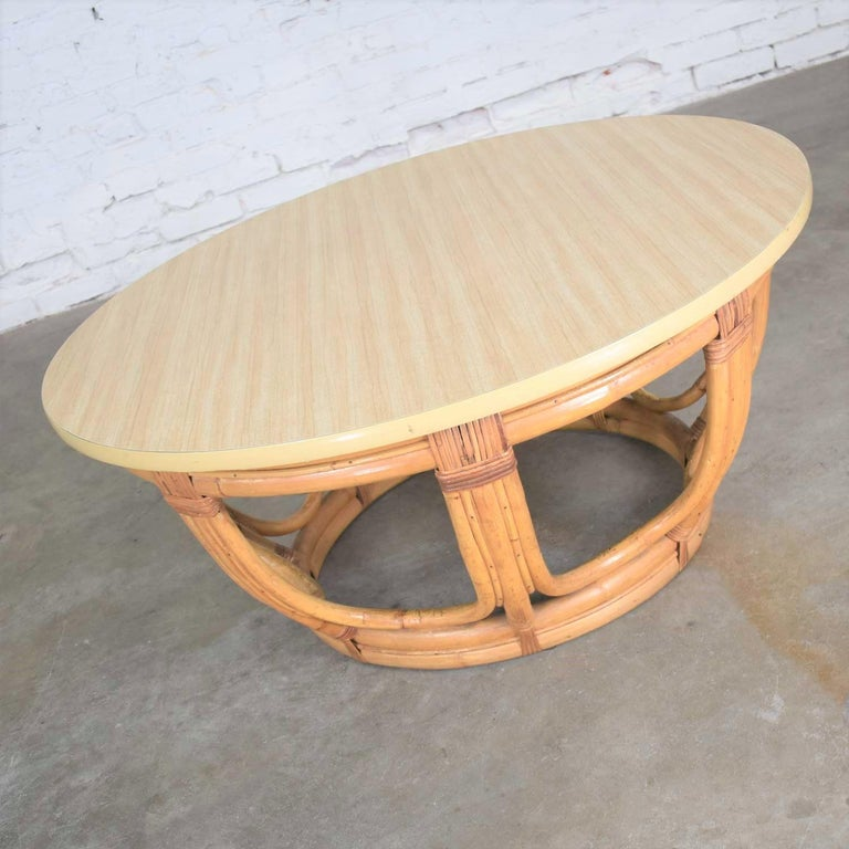 Vintage Round Rattan Drum Shape Coffee or End Table with Laminate Top In Good Condition For Sale In Topeka, KS