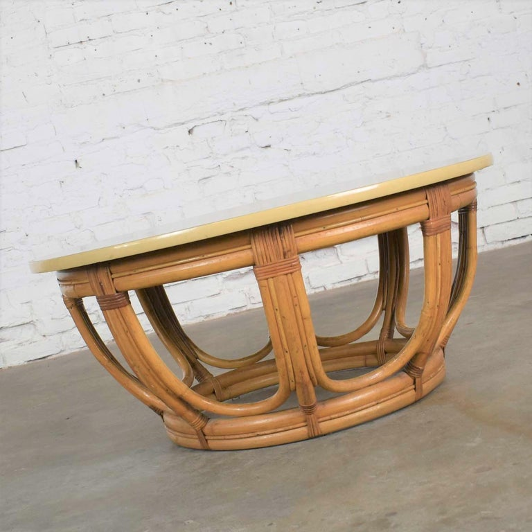 20th Century Vintage Round Rattan Drum Shape Coffee or End Table with Laminate Top For Sale