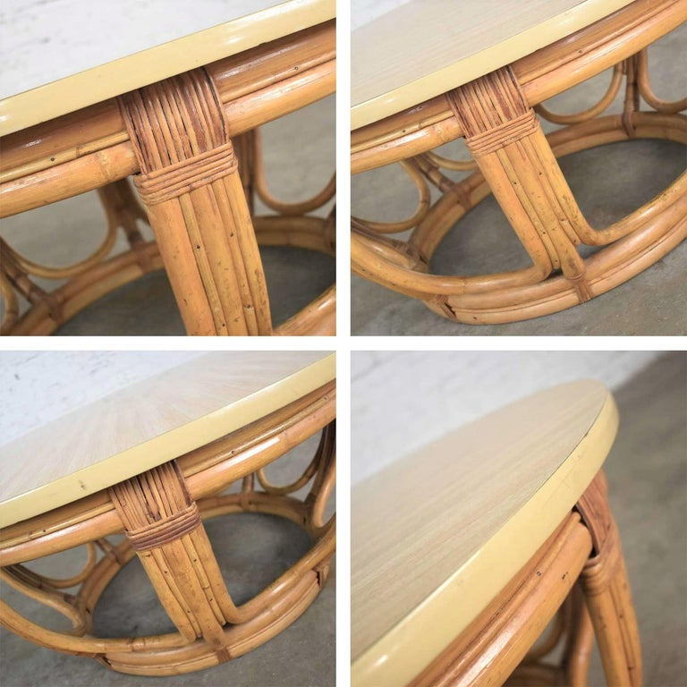 Vintage Round Rattan Drum Shape Coffee or End Table with Laminate Top For Sale 2