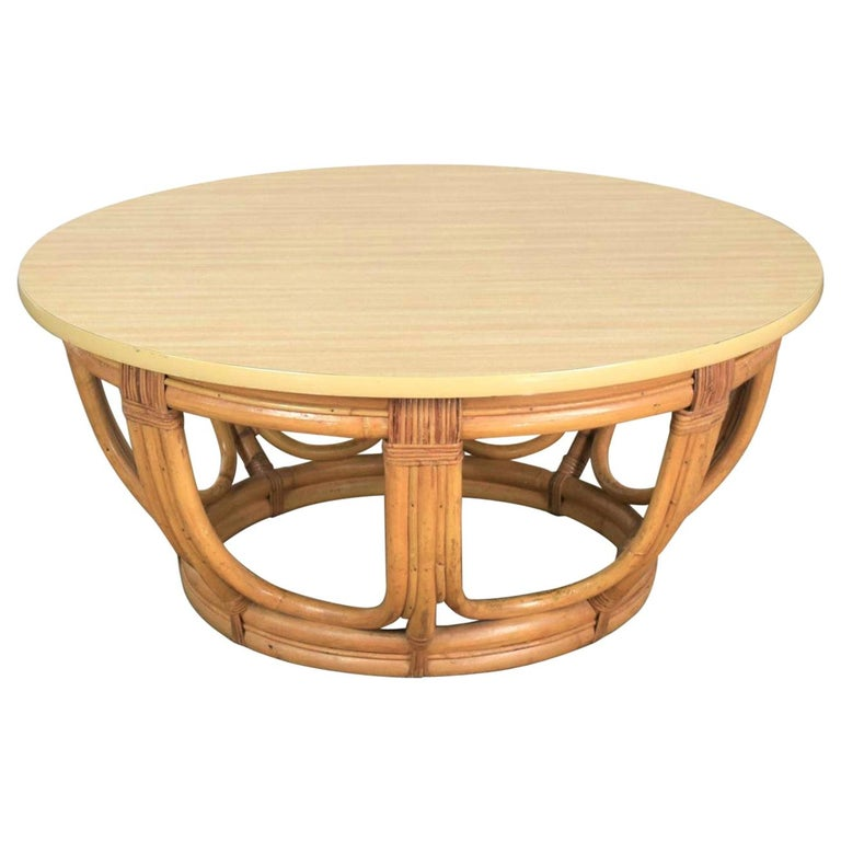Vintage Round Rattan Drum Shape Coffee or End Table with Laminate Top For Sale