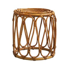 Vintage Round Rattan Stool With Elegant Details, France Late 20th-Century