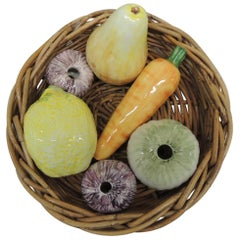 Vintage Round Rattan Woven Tray with Ceramic Vegetables and Fruits