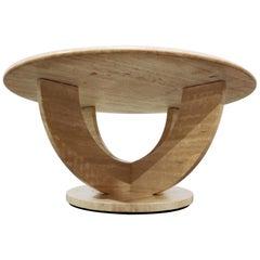 Vintage Round Ravertine Coffee Table, 1970s
