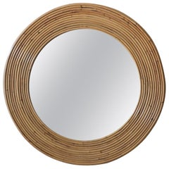 Vintage Round Reeded Bamboo Wicker Rattan Wall Mirror