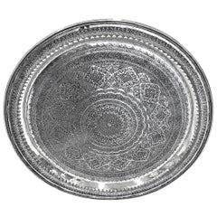 Vintage Round Silver Tray Detailed Hand Carved Silver