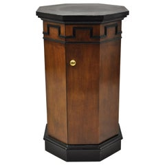 Vintage Round Slate Top Mahogany Pedestal Classical Column Cabinet Storage Stand