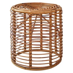 Vintage Round Stool in Bamboo, Italy, 1970s