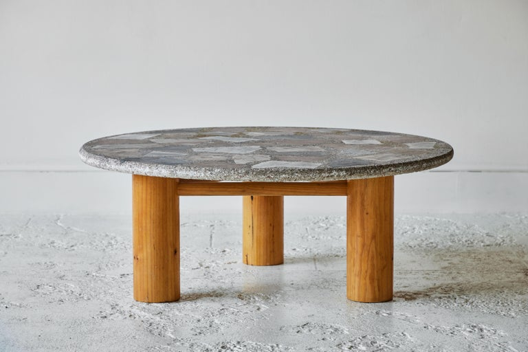 Late 20th Century Vintage Round Terrazzo Table with Wooden Base