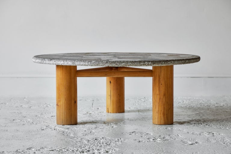 Vintage Round Terrazzo Table with Wooden Base 1