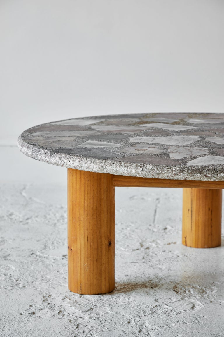 Vintage Round Terrazzo Table with Wooden Base 2