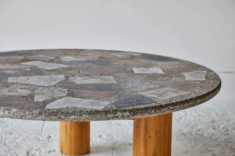 Vintage Round Terrazzo Table with Wooden Base 3