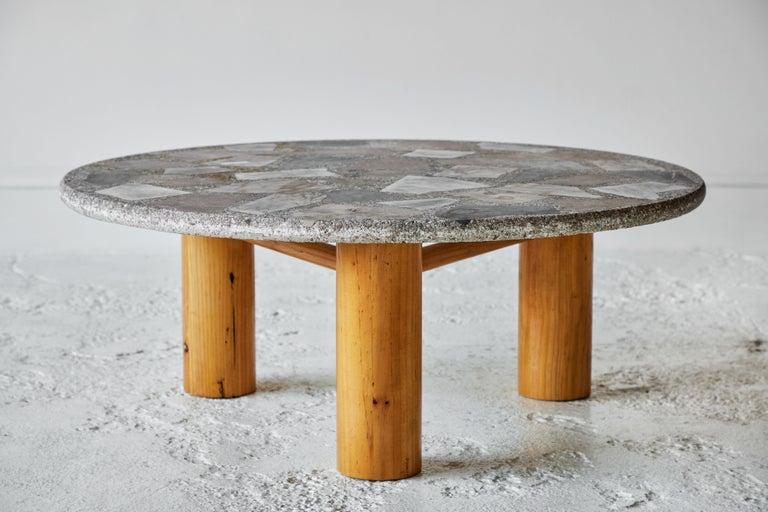 Vintage Round Terrazzo Table with Wooden Base 4