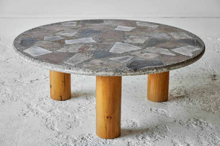Vintage Round Terrazzo Table with Wooden Base 5