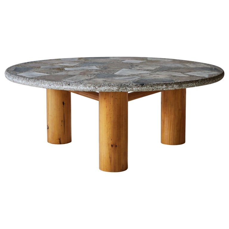 Vintage Round Terrazzo Table with Wooden Base