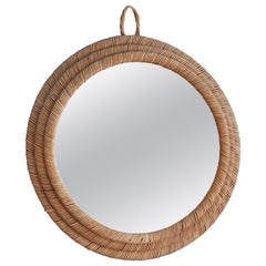 Vintage Round Wall Mirror in Rattan, France, 1950s