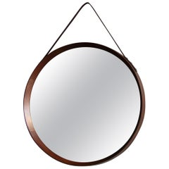 Vintage Round Wall Teak Mirror with Leather Hanging Strap, 1950