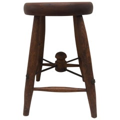 Vintage Round Wood Work Bench Stool