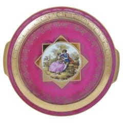Vintage Royal Bavaria Hutschenreuther Selb Gold & Pink Portrait Plate German