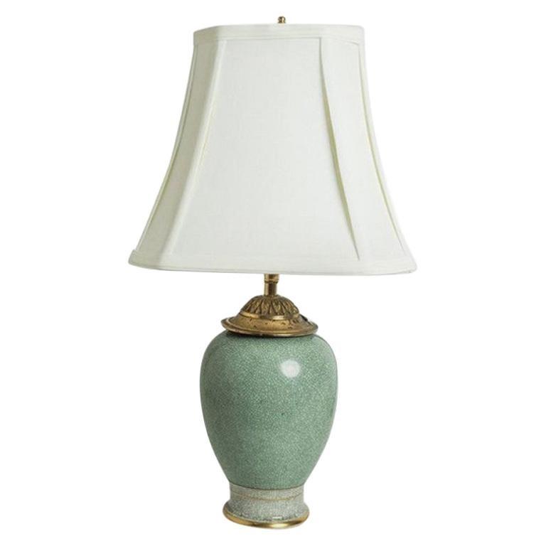 Vintage Royal Copenhagen Celadon Crackled Vase Lamp