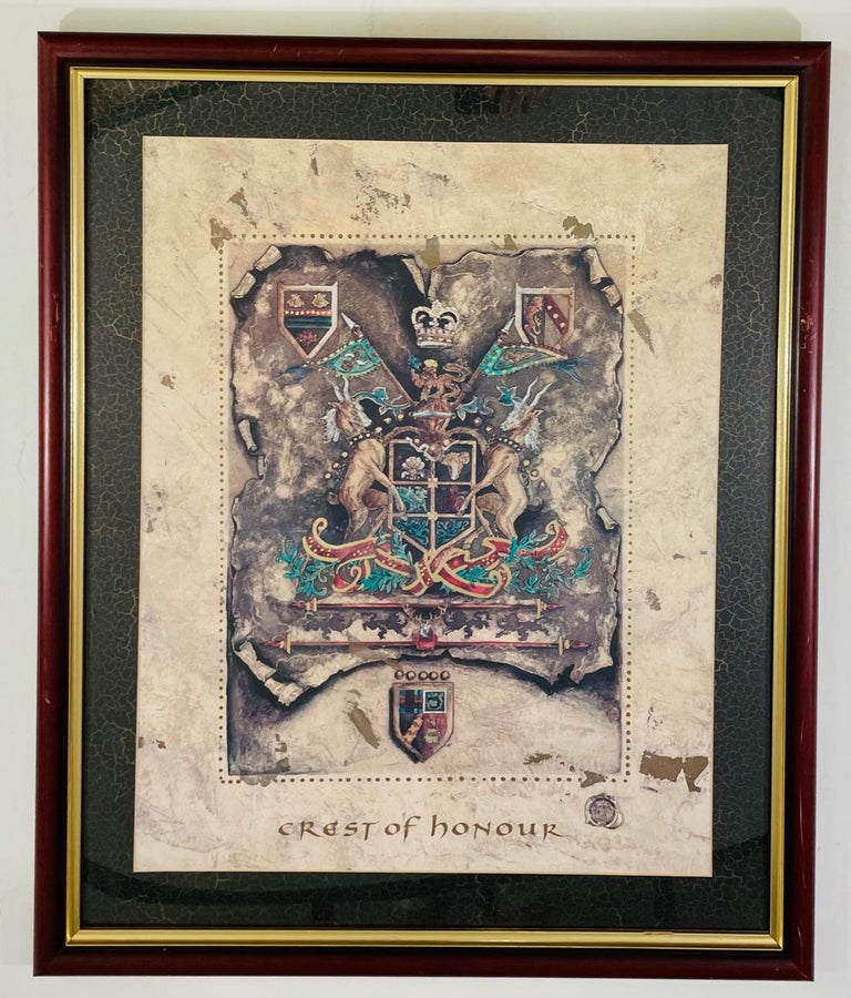 A fine pair of Royal English coat of arms prints. One print is titled