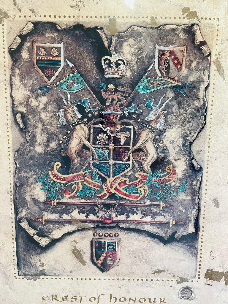 Late 20th Century Vintage Royal English Coat of Arms Print, a Pair For Sale