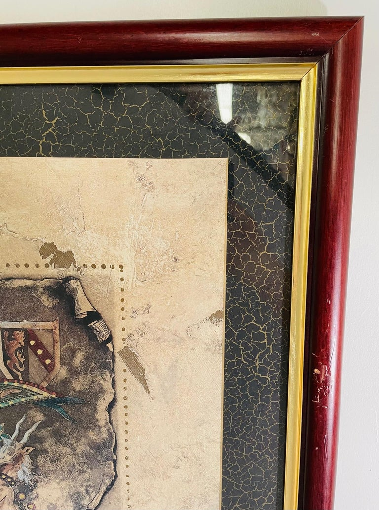 Glass Vintage Royal English Coat of Arms Print, a Pair For Sale