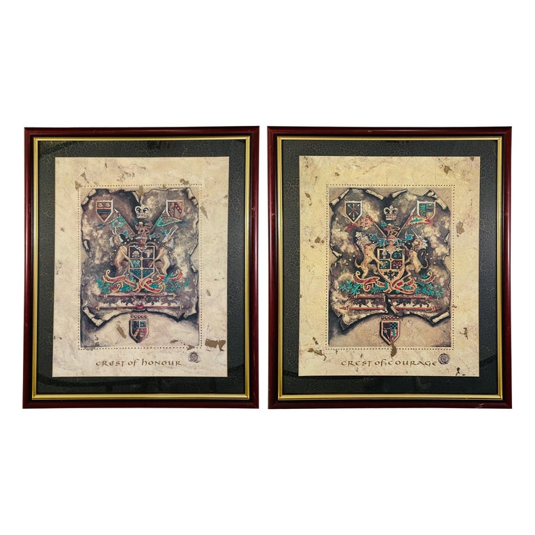 Vintage Royal English Coat of Arms Print, a Pair For Sale
