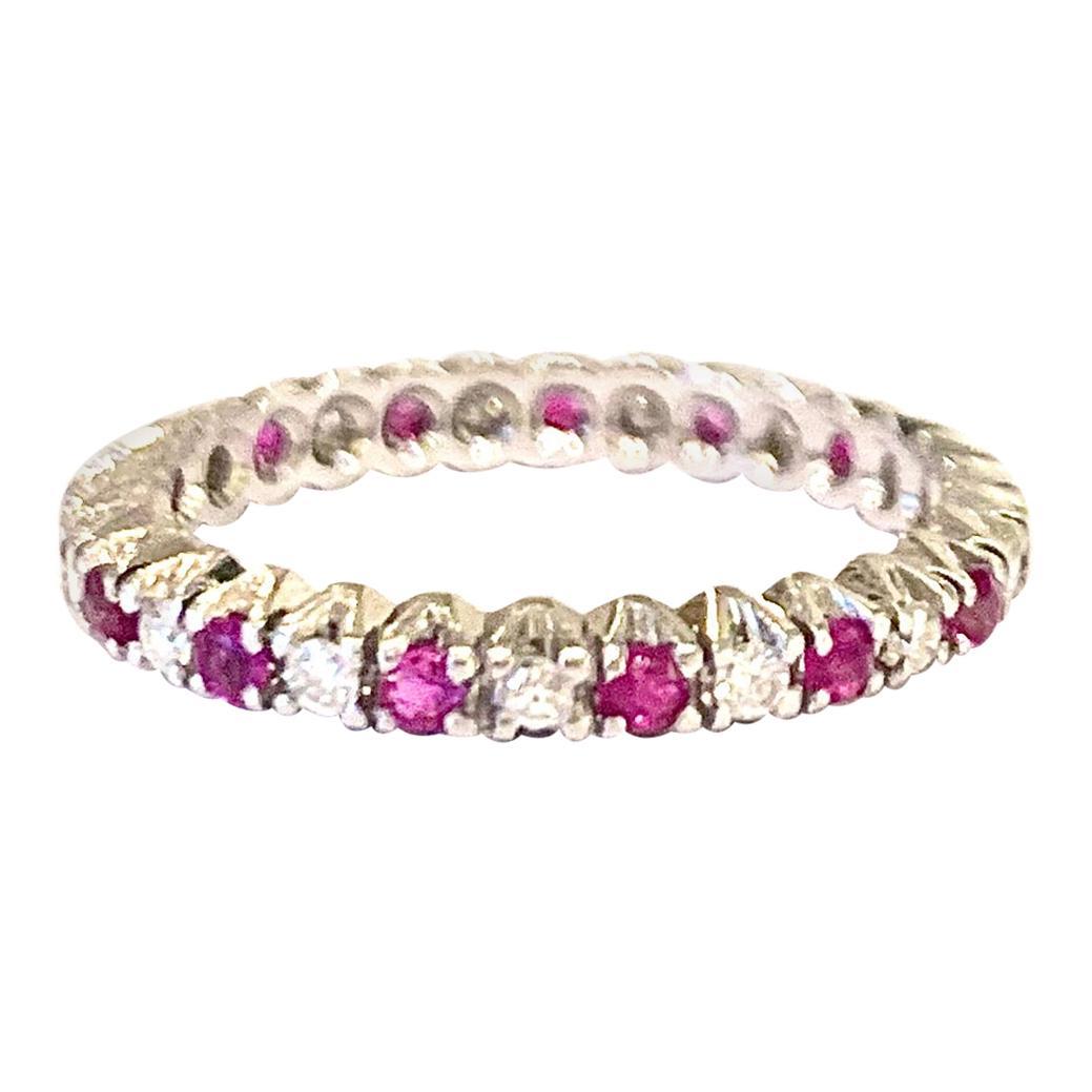 Vintage Rubies Diamonds 18 Karat White Gold Band Ring