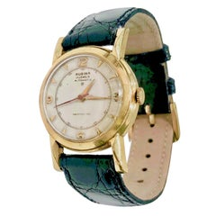 Vintage Rubina 14 Karat Gold Automatic Wristwatch with Black Crocodile Band