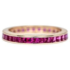 Vintage Ruby 14 Karat Yellow Gold Retro Eternity Band Wedding Ring Stackable