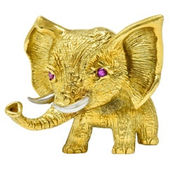 Vintage Ruby 18 Karat Two-Tone Gold Elephant Brooch