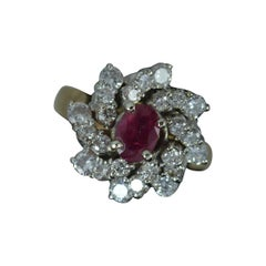 Vintage Ruby and 1.15ct Diamond 14ct Gold Cluster Cocktail Ring