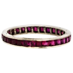 Vintage Ruby and 18 Carat White Gold Eternity Band