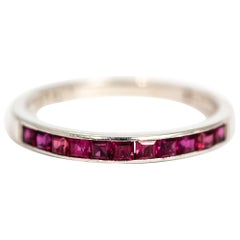 Vintage Ruby and 18 Carat White Gold Half Eternity Ring