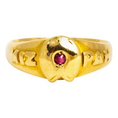 Vintage Ruby and 18 Gold Mizpah Ring