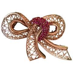 Vintage Ruby and 18 Karat Gold Bow Fur Clip/Brooch/Pin