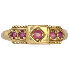 Vintage Ruby and 9 Carat Gold Five-Stone Ring