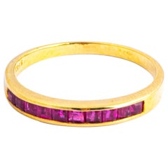 Vintage Ruby and 9 Carat Gold Half Eternity Band