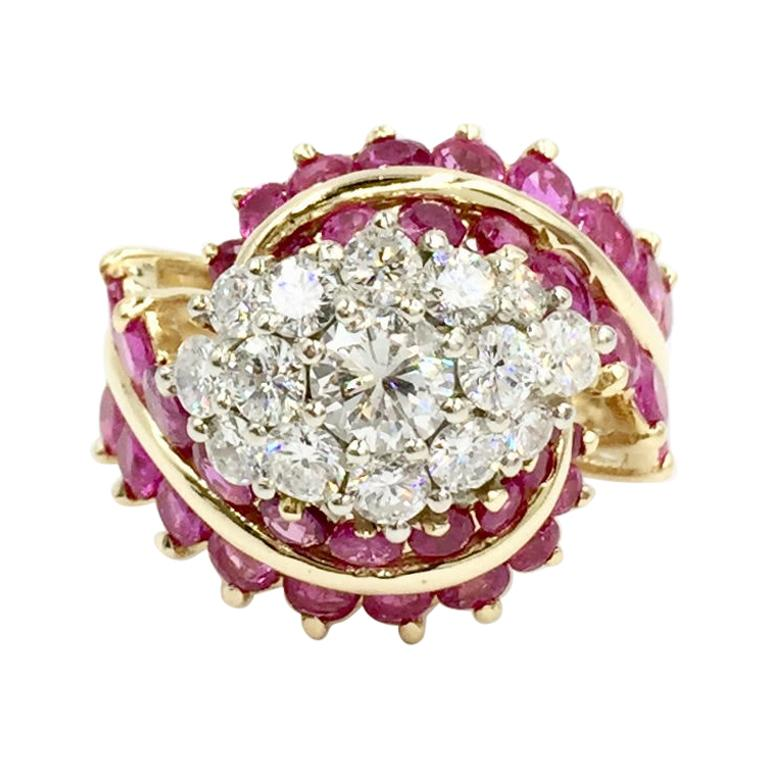 393fa46c1d6 Vintage Ruby and Diamond 14 Karat Gold Cocktail Ring For Sale at 1stdibs