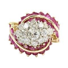 Vintage Ruby and Diamond 14 Karat Gold Cocktail Ring