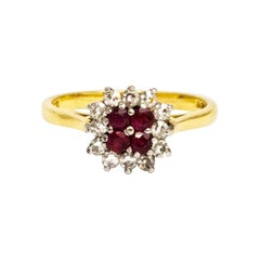 Vintage Ruby and Diamond 18 Carat Cluster Ring
