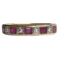 Vintage Ruby and Diamond 18 Carat Gold 1/2 Eternity Band