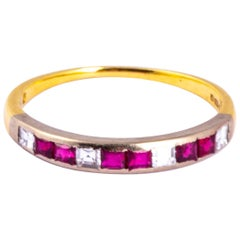 Vintage Ruby and Diamond 18 Carat Gold and Platinum Half Eternity Ring