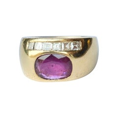 Vintage Ruby and Diamond 18 Carat Gold Band