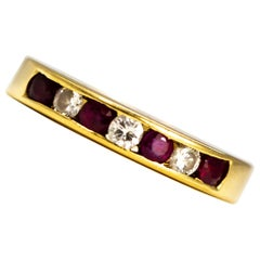 Vintage Ruby and Diamond 18 Carat Gold Half Eternity