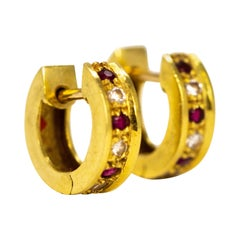 Vintage Ruby and Diamond 18 Carat Gold Hoop Earrings